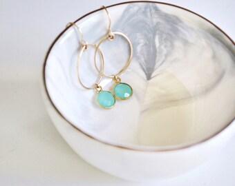 Birthstone Hoop Earrings - Personalized Gemstone Earrings