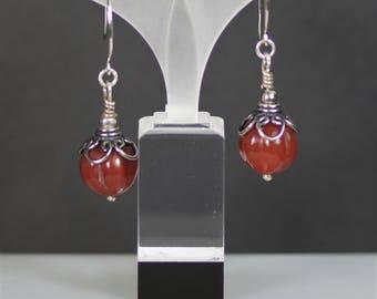 Carved Carnelian Delight BOHO Sterling Silver Dangle Earrings