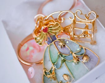 Princess dress charm keychain keyring