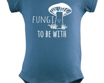 Fungi To Be With Baby Onesie, Screen Printed Onesie, 100% Cotton, Indigo