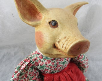 Vintage Ceramic Pig Doll Art Doll Country Farmhouse Decor Collectible Piggy Doll 22 in Doll
