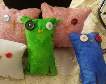 Handmade handsewn owl plushies