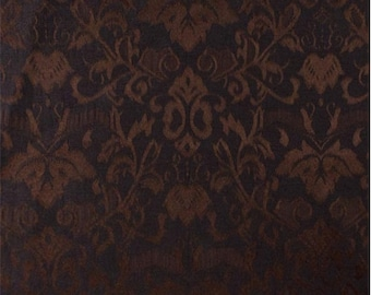 Brown/Black Damask Fabric, Fabric By The Yard