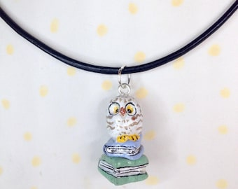 OWL pendant OWL or white on stack of books