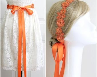 Orange Beaded Lace Sash Belt, Orange Bridal Sash, Bridesmaid Sash, Flower Girl Sash Belt, Orange Lace Headband,Prom Sash