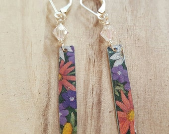 Tin earrings, 10th anniversary gift for her, upcycled recycled repurposed, ooak jewelry, mismatched earrings, unique finds, funky earrings