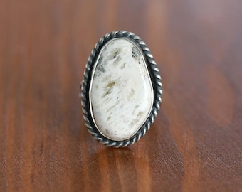 White Buffalo Ring, Sterling Silver Ring - Size US 7.25