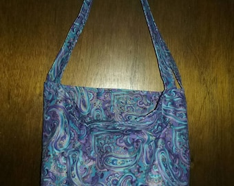 Beautiful paisley market bag, tote bag, gift bag, library bag, book bag, purse, handbag
