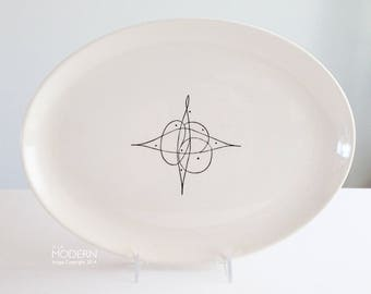 """Stetson Holiday """"Tiara"""" Oval Ceramic Platter Tray 1953 Design by Alfred Dube"""