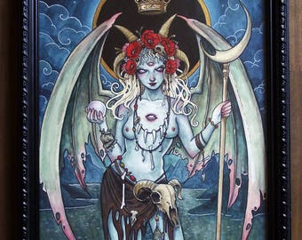 Pale Demoness - original framed watercolor