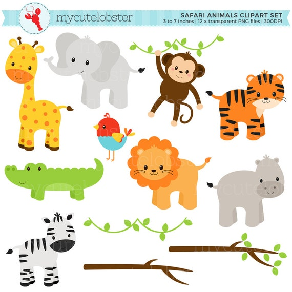 safari animals clipart set clip art set of giraffe tiger rh etsy com jungle animal clipart black and white safari animal clipart black and white