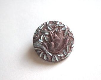 Squirrel Antique 1800's Metal Picture Button