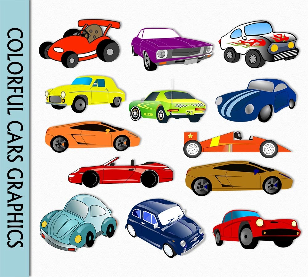 Cars Clip Art Graphic Car Clipart Digital Scrapbook Colorful