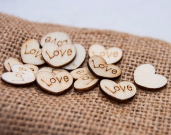 100 Wedding Table Scatter Wood Hearts (1/2 inch diameter), Rustic Wedding Confetti, Heart Table Scatter, Wood Love Hearts, Table Confetti