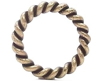 "Rope Border Antique Brass Ring 1"" (2.5 cm) 1176-09"