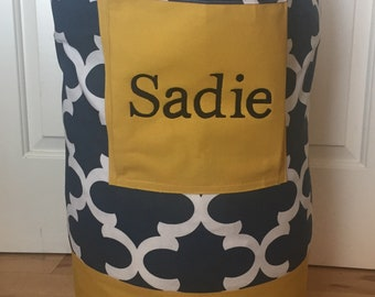Monogrammed Laundry Duffel Bag, Yellow, Navy & White Fynn , Laundry Bag, Laundry Bag for College, Hanging Laundry Bag,  Laundry Hamper
