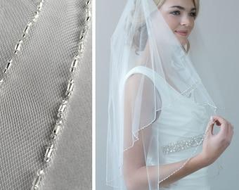 2 Layer Beaded Veil, Beaded Wedding Veil, Bridal Veil with Blusher, 2 Layer Veil, Beaded Bridal Veil, Tulle Veil, Fingertip Veil ~VB-5040