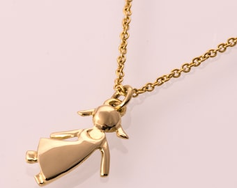 Child Pendant, 14K Gold Pendant, girl gold pendant, mother's necklace, father's pendant, baby pendant, gift, mother's day gift