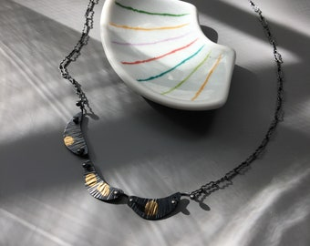 """OOAK: Kinetic Harlequin Necklace in Recycled Oxidized Sterling & Gold 18"""""""