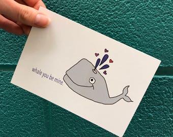 whale you be mine -- handmade love card -- greeting postcard
