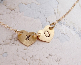 XO necklace, personalized jewelry, XOXO charm, initial necklace, couple initials necklace, two initials heart jewelry, heart gift for her