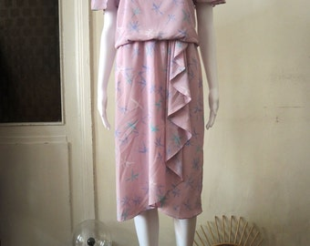 SALE** Vintage 1980s 80s candy dress with cap sleeves and ruffles **SALE