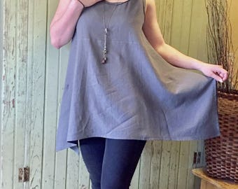 Tunic Top Loose Fitting Linen Blend Relaxed Fit Asymmetrical Handkerchief Hem Dropped Sides/Loungewear/Beachwear/Casual/Layering/Style #201