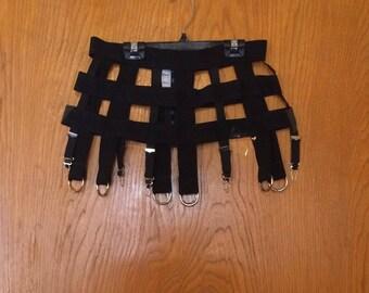 Catherine Coatney 90's Gothic XL Caged O-Ring mini-skirt. Black.