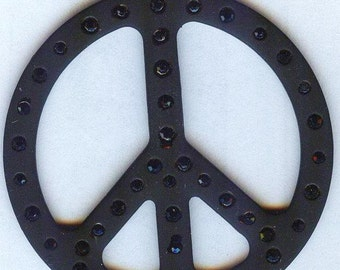 Large Peace Sign Pendant with Jet Black Rhinestones 50mm