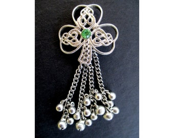 SHAMROCK CLOVER PENDANT With A Green Crystal and Dangle Bells