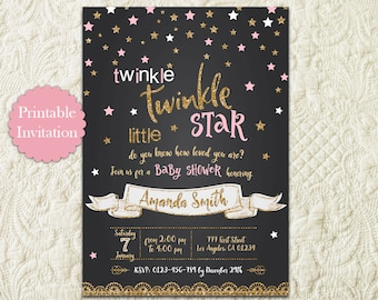 Twinkle Twinkle Little Star Pink And Gold Glitter Chalkboard Girl Baby Shower Printable Invitation Invite