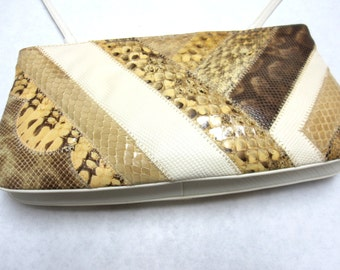 Brown White Snakeskin Purse Patchwork Handbag Bags By Supreme