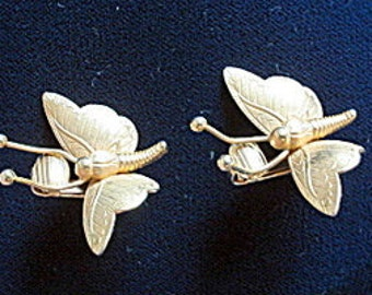 Butterfly Earrings Gold Tone Lever Back Clip On