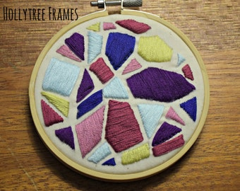 Geometric Embroidery, Hoop Art, Embroidery Art, Hand-Stitched Embroidery, Abstract Stained Glass, 4in Hoop