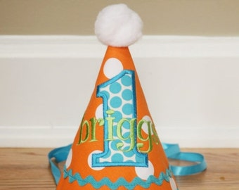 SPRING SALE Boys First Birthday Hat - Orange, aqua, and green dots - Free personalization