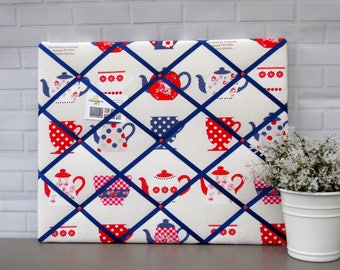 Tea cups memo board, fabric notice board, vintage red blue and white, 40 x 50 cm, handmade