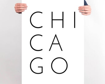 Chicago Modern Typography Poster Minimalist Chicago Black and White Printable Wall Art Chicago Apartment Decor City Art Modern Living Room