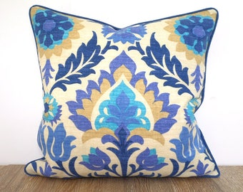 Blue medallion pillow cover 18x18, turquoise throw pillow case, blue ikat cushion cover traditional home decor