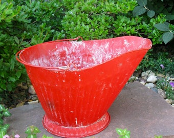 Vintage COAL BUCKET Red Coal Scuttle Ash Bucket Ribbed Galvanized Metal