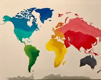 World Map in Color Acrylic Painting