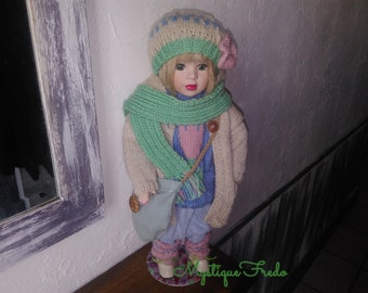 Custom revamped porcelain doll, Miss Rose dressed in pastel colors