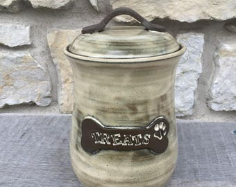 Dog Treat Jar, pottery dog treat canister cream white glaze