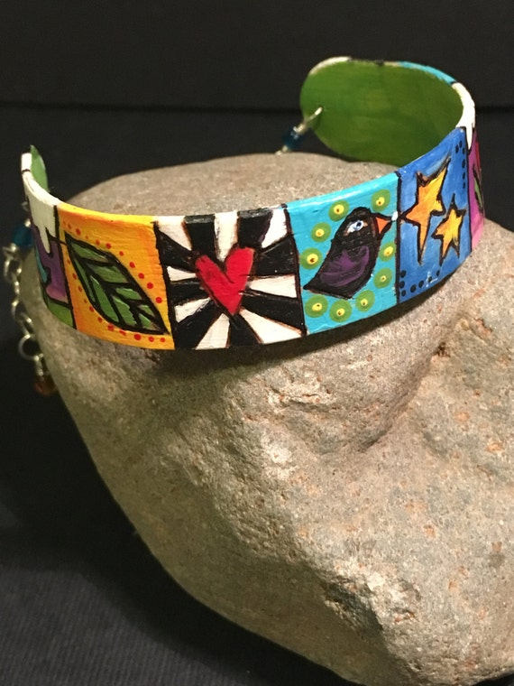 """Bracelet """"Tale of Two Birds and a Butterfly"""""""