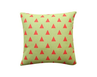 "Green Triangles Pillow Cover, Triangle Geometric Cushion, 18"" x 18"" Decorative Pillow Cover Kids Room Throw Pillow 147"