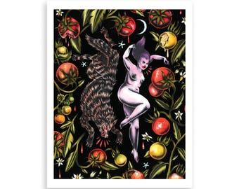 WOLF & GIRL, TOMATOES illustration print, tattoo inspired print