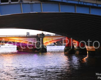 Unframed poster Sunset Rays Reflected in the Water under the Bridge printable wall art