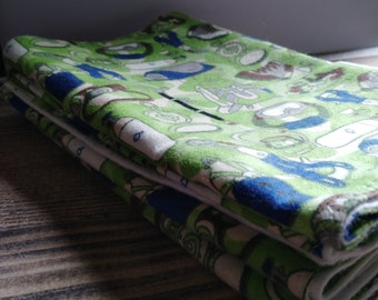 Handcrafted flannel burp cloths *Happy Campers*