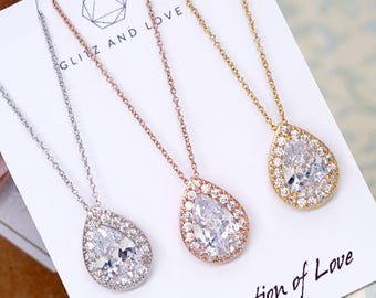 Three Generation of Love | Rose Gold Silver Teardrop Cubic Zirconia Necklace | Wedding Bridesmaid Gift BridalNecklace Jewelry N221