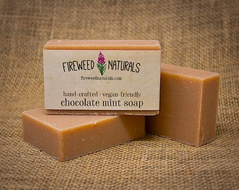 Chocolate Mint Soap Bar - Hand-Crafted, Vegan-Friendly, Cold Process