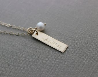 14k gold filled name necklace - skinny bar personalized & White Freshwater Pearl - Hand Stamped -Gift for Mom - Custom - Gift for her